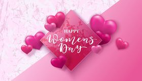 Happy women s day. 8 March with hearts. Happy women s day. 8 March vector illustration with pink hearts vector illustration