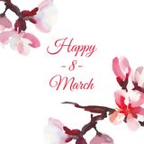 Happy women`s day. 8 March. Watercolor almond flowers. White background Royalty Free Illustration