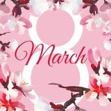 Happy women`s day. 8 March. Watercolor almond flowers. Pink background Royalty Free Illustration