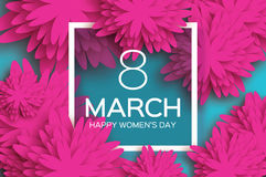 Happy Women`s Day. Paper flower. 8 March. Square frame Royalty Free Stock Photography