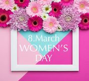 Happy Women`s Day Pastel Candy Coloured Background. Floral womens day flat lay greeting card. Happy Women`s Day Pastel Candy Coloured Background. Floral womens royalty free stock photo