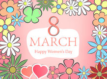 Happy Women`s Day. Pastel 8 March. Floral Greeting card. Happy Women`s Day. Paper cut flower holiday background with square Frame. Vector illustration Royalty Free Stock Image