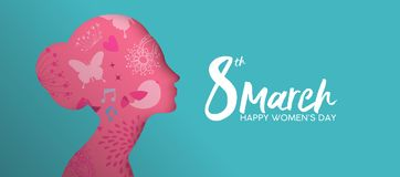 Happy Women`s Day pink paper cut girl face banner vector illustration