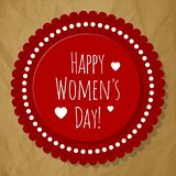 Happy Women`s Day Postcard Circle red on a crumpled paper brown background. Happy Women`s Day Postcard Circle red on a crumpled paper brown background stock illustration