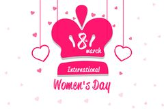 Happy women`s day, Queen Crown with heart on white background.  Royalty Free Stock Images
