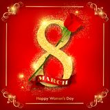Happy women`s day red greeting card. With gold glitter number and red rose. Vector illustration for international women`s day march 8th Royalty Free Stock Photo