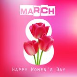 Happy Women's Day with red tulips on pink background. Illustration of Happy Women's Day with red tulips on pink background stock illustration