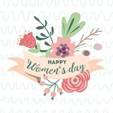 Happy women`s day romantic spring banner Cute hand drawn flowers Mothers day card vector ribbon frame. Happy women`s day romantic text on pastel ribbons vector illustration