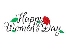 Happy Women`s Day, Rose Illustration, Wording Design stock illustration