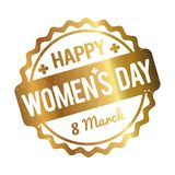 Happy Women`s Day rubber stamp gold on a white background. Happy Women`s Day rubber stamp gold on a white background Royalty Free Illustration