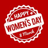 Happy Women`s Day rubber stamp white on a red background. Happy Women`s Day rubber stamp white on a red background Vector Illustration
