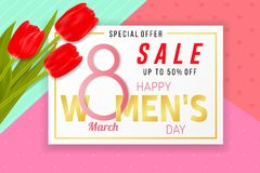 Happy Womens Day sale background with tulips. Happy Women s Day sale background with tulips. Vector illustration. For posters, brochure, banners and ad. 8 March vector illustration