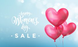 Happy women`s day sale banner with ballon heart on romantic blue light bokeh background. Vector 8 March text poster. Happy women`s day sale banner with ballon Royalty Free Stock Image