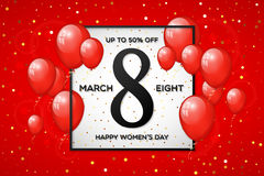 Happy Women`s day sale banner Royalty Free Stock Images