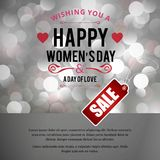 Happy Women\'s day sale card with pattern background. For web design and application interface, also useful for infographics. Vector illustration Stock Image