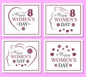 Happy Women`s Day set of template card. Tempate postcard Vector Illustration