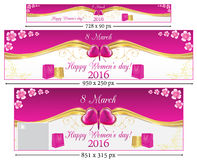Happy Women's Day 2016 set web banners. Elegant Happy Women's Day 2016 set web banners with flowers and shopping bags. Sizes: leader board. Contains place for Stock Image