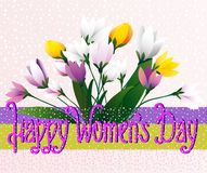 Happy Women`s Day. Spring flowers. Greeting card. Happy Women`s Day. Greeting card with a bouquet of spring flowers and an inscription on a multi-colored royalty free illustration