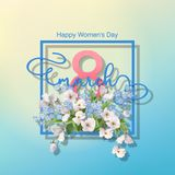 Women`s Day Greeting Card. Happy women`s day spring vector background. Greeting card on March 8 Stock Photo