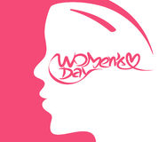 Happy women`s day stylish typography text Stock Image