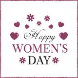Happy Women`s Day template card. Template postcard Royalty Free Stock Photo