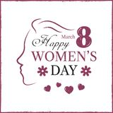 Happy Women`s Day template card. Template postcard Royalty Free Stock Photos