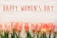 Happy women`s day text on pink tulips on white rustic wooden bac. Kground. greeting card concept. sensual tender womens image. spring flowers in soft morning Stock Images