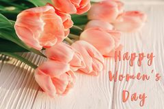 Happy women`s day text on pink tulips on white rustic wooden bac. Kground. greeting card concept. sensual tender womens image. spring flowers in soft morning Royalty Free Stock Photography