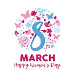 Happy Women`s day 8th march floral decoration card. Happy Women`s Day 2018 greeting card illustration, celebration text quote signs with feminine decoration and Vector Illustration