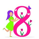 Happy Women`s Day 8th March illustration royalty free illustration