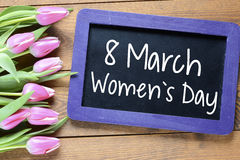 Happy Women's Day with tulips Stock Image