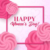 Happy women`s day. Vector greeting card. With flowers Royalty Free Stock Photography