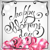 Happy Women`s Day. Vector Greeting Card with tulips. The 8th of March Stock Photos