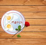 Happy women`s day vector illustration with number eight shaped h. Eart omelette on plate with ketchup 8 march lettering and red rose on rustic wooden table royalty free illustration