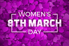 Happy Women`s Day Vector Illustration. Happy Women`s Day 8th March Vector Illustration. Typographic Design Text. Abstract Purple and Violet 3D Hearts Dense Stock Photography