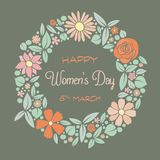 Happy Women`s Day - vintage card with cute flowers. stock illustration