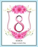 Happy Women` s Day greeting card, women and text 8th March. Royalty Free Stock Image