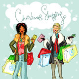 Happy women with shopping bags Royalty Free Stock Photography