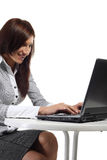 Happy women sitting with computer Stock Image