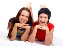 Happy women smiling royalty free stock images