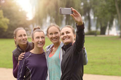 Happy Women Taking Selfie After Outdoor Exercise Stock Photography
