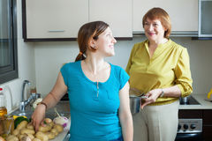 Happy women together  cooking   in kitchen Stock Image