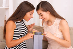 Happy women together looking purchases from shopping bags Stock Image