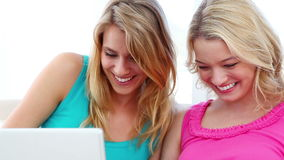 Happy women using a laptop. While sitting on a sofa stock footage