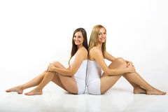 Happy women with white underwear Royalty Free Stock Photos