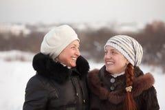 Happy women in winter Stock Photos