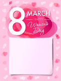 Happy Womens day 8 march flyer. 8 March Women`s Day greeting card template with vector pink hearts and paper on background Stock Photography