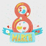 Happy Womens Day. Banner. 8 March Lettering with birds and flowers. Vector Vector Illustration