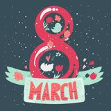 Happy Womens Day. Banner. 8 March Lettering with birds and flowers. Vector Stock Illustration