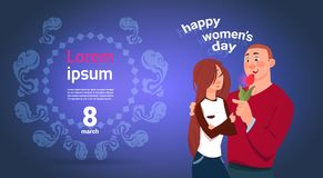 Happy Womens Day Banner With Young Couple Embracing Over Template Background. Flat Vector Illustration stock illustration